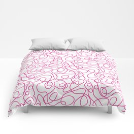 Doodle Line Art   Hot Pink Lines on White Background Comforters