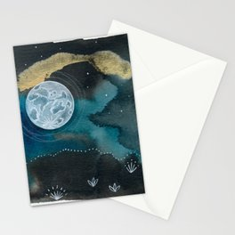 Moon Series #6 Watercolor + Ink Painting Stationery Cards