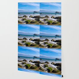 Pacific Pier | Malibu Ocean Scene Waves Tide Beach Art Print Tapestry Wallpaper