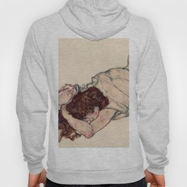"Egon Schiele ""Kneeling Girl, Resting on Both Elbows"" Hoody"