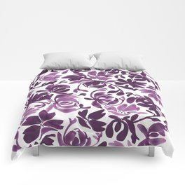 Purple Peonies and Poppies Comforters