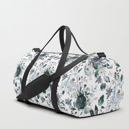 Botanical navy blue gray green watercolor peonies motif Duffle Bag