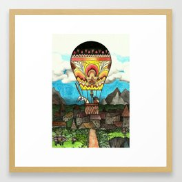Bunny and mole take a ballon-ride Framed Art Print