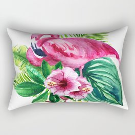 watercolor illustration of a pink flamingo with tropical castings and flowers Rectangular Pillow