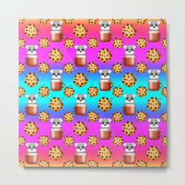 Cute happy funny baby Schnauzer puppies sitting in little cappuccino coffee cups, sweet Kawaii adorable yummy chocolate chip cookies cartoon bright rainbow blue design. Metal Print
