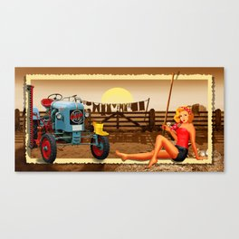 Pin Up Girl with tractor on the farm Canvas Print