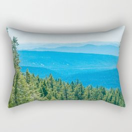 Artistic Brush // Grainy Scenic View of Rolling Hills Mountains Forest Landscape Photography Rectangular Pillow