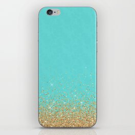 Sparkling gold glitter confetti on aqua teal damask background iPhone Skin