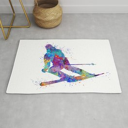Boy Skiing 2 Winter Sports Colorful Watercolor Art Gift Rug