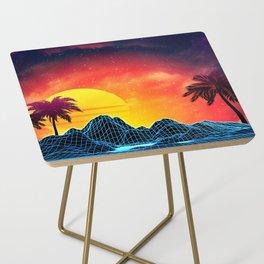 Sunset Vaporwave landscape with rocks and palms Side Table