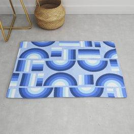 Geometric rainbow - blue Rug