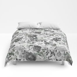 Black gray white hand painted floral stripes pattern Comforters