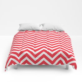 Chevron Pattern - Red and White Comforters