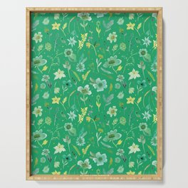 Verdant Flowers on Emerald Background Serving Tray