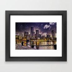 Skyline of Boston Harbor Framed Art Print