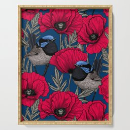 Fairy wren and poppies Serving Tray