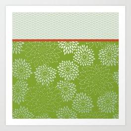 Dahlia Scallops Green and Orange Art Print