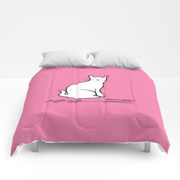 white cat on pink Comforters