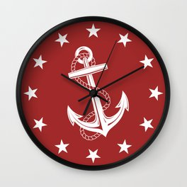 Nautical Anchor and Stars Wall Clock