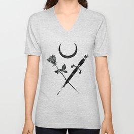 Occult Moon Rose Dagger Gothic Witch Esoteric Sacred Tarot design Unisex V-Neck