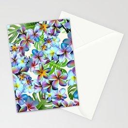 Rainbow Plumeria Pattern Stationery Cards