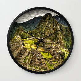 Machu Picchu in Hi-Res HDR landscape photo Wall Clock
