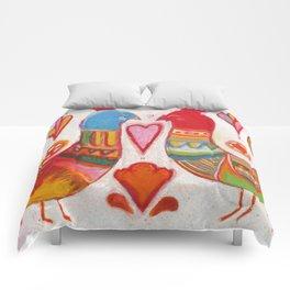 Folk Love Birds Comforters