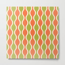 Classic Retro Ogee Pattern 852 Orange and Olive Metal Print