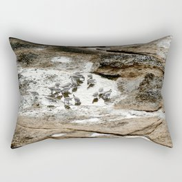 Sandpipers feeding in a tide pool Rectangular Pillow