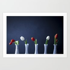 Tulips in Bud Vases Art Print
