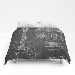 Gibson Guitar Patent - Les Paul Guitar Art - Black Chalkboard Comforters