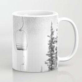 Ski Lift Moon Break // Riding the Mountain at Copper Colorado Luna Sky Peeking Foggy Clouds Coffee Mug