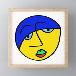 Colored Sad Man's Face Framed Mini Art Print