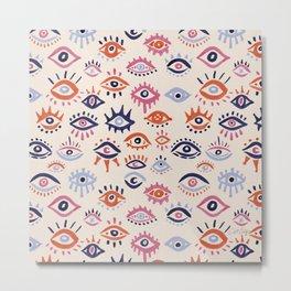 Mystic Eyes – Coral & Navy Metal Print