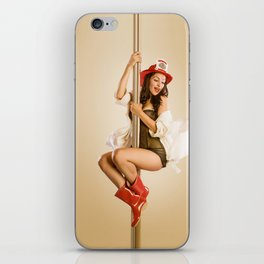 """Four-Alarm Flirt"" - The Playful Pinup - Firefighter Girl Pin-up by Maxwell H. Johnson iPhone Skin"