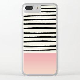 Blush x Stripes Clear iPhone Case
