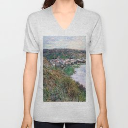 Claude Monet - View of Vetheuil - Digital Remastered Edition Unisex V-Neck