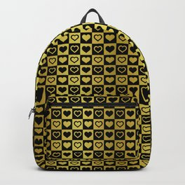 Gold & Black Valentines Loveheart Square Checkers Backpack