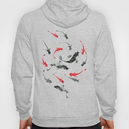 Sumi-e hand drawn ink fishes, black and red. Japan traditional style. Hoody
