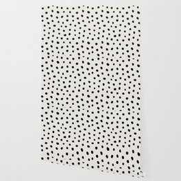 Modern Polka Dots Black on Light Gray Wallpaper