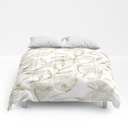 Elegant white gold modern trendy floral Comforters