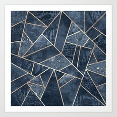 Soft Dark Blue Stone Art Print