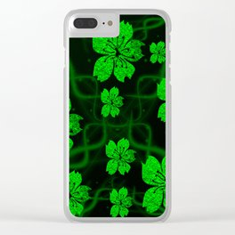 artfully painted green asian  blossoms on the dark background Clear iPhone Case