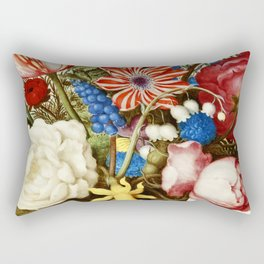 Colorful Still Life with Flowers and Insect Rectangular Pillow