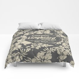 Club Surfing Longboard Logo and Hibiscus Hawaiian Print  Comforters