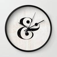 ampersand Wall Clocks featuring Ampersand by Crea Bisontine