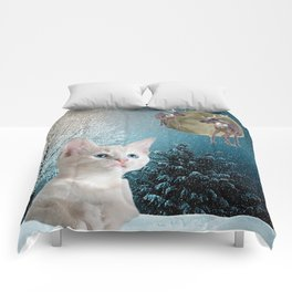 White Cat and Reindeers Comforters