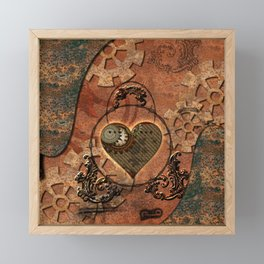 Steampunk, rusty heart Framed Mini Art Print