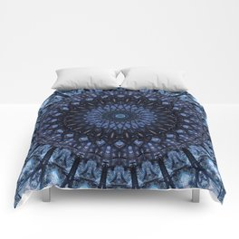 Dark and light blue mandala Comforters