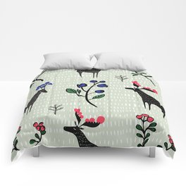 Berry loving deers on a green background Comforters